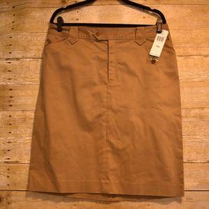 NWT Ralph Lauren Jeans Co Leather Trim Khaki Skirt